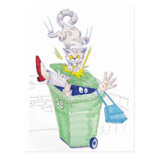 Revenge of the wheelie bin cat! postcard