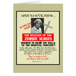Revenge of the Zombie Nurses Greeting Card