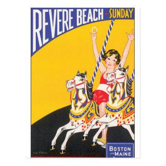 Revere Beach Vintage Travel Poster Artwork Postcard