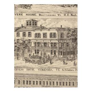 Revere House and Crosby Block in Brattleboro Postcard