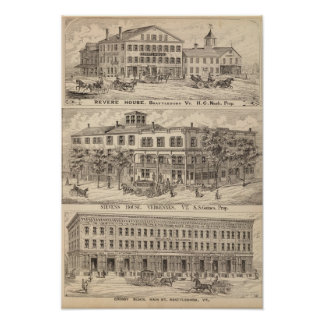 Revere House and Crosby Block in Brattleboro Poster