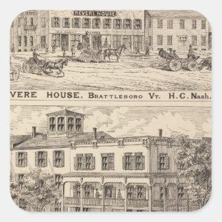 Revere House and Crosby Block in Brattleboro Square Sticker