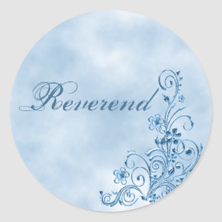 Reverend Envelope Seals: Sky Blue Elegance Classic Round Sticker