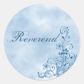 Reverend Envelope Seals Sky Blue Elegance Round Sticker