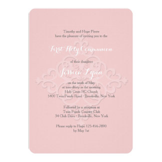 Reverent Cross Religious Invitation Pink