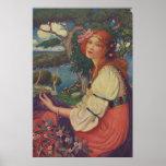 Reverie, 1908, chica gitano colorido poster