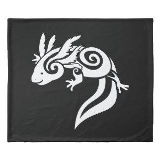 Reversable Black Tribal Axolotl Mexican Salamander Duvet Cover