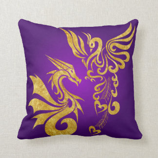 Reversable Feng Shui Phoenix & Dragon Pillow-purp Throw Pillow