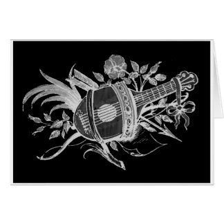 Reverse black and white of a lute and flowers greeting card