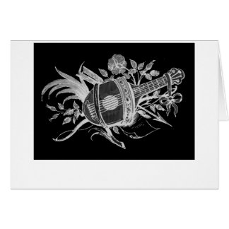 Reverse black and white of a lute and flowers cards