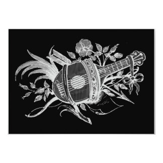 Reverse black and white of a lute and flowers announcements