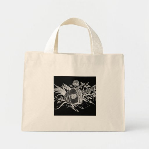 Reverse black and white of a lute and flowers mini tote bag