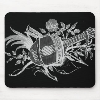 Reverse black and white of a lute and flowers mousepads