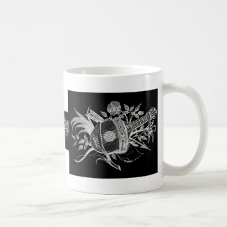 Reverse black and white of a lute and flowers classic white coffee mug