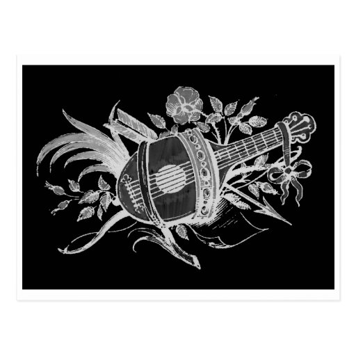 Reverse black and white of a lute and flowers post card