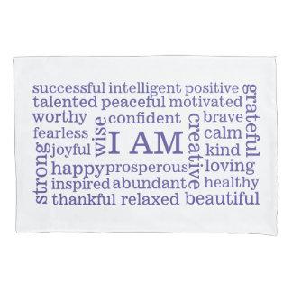Reverse Colors I AM Positive Affirmations Purple Pillowcase