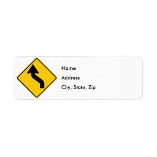 Reverse Curve (Left) Highway Sign Return Address Label