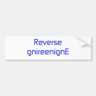 Reverse gnireenignE black blue gray white Bumper Sticker