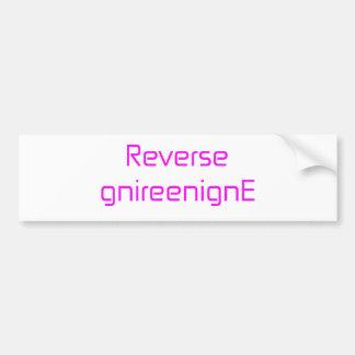 Reverse gnireenignE orange pink red Bumper Sticker