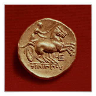 Reverse of a stater of Philip II  of Macedonia Poster