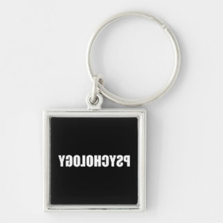 Reverse Psychology Silver-Colored Square Keychain