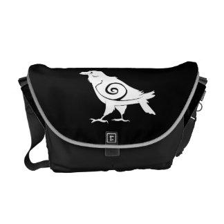 Reverse Tribal Raven Black Messenger Bag