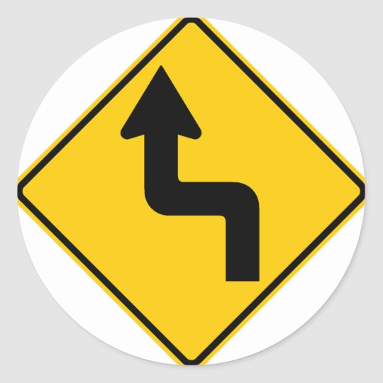 Reverse Turn (Left) Highway Sign Classic Round Sticker