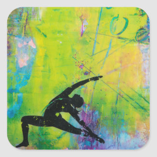 Reverse Warrior Yoga Girl Sticker