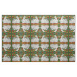 Reverse White Rabbit Green Floral Folk Art Fabric
