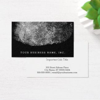 Reversed Loop Fingerprint Monochrome Business Card
