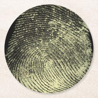 Reversed Loop Fingerprint Round Paper Coaster