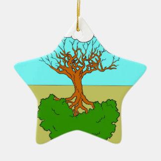 reversed tree ceramic ornament