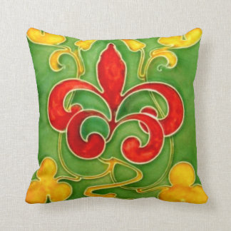 Reversible Antique Arts and Crafts Tile Throw Pillow
