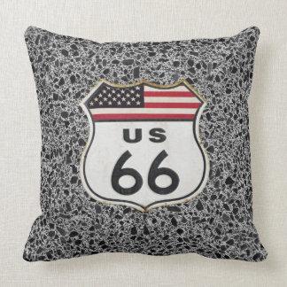 Reversible Asphalt Route 66 Throw Pillow