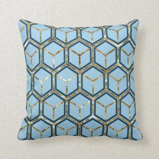 Reversible azul del modelo del panal del embutido almohada