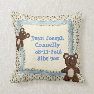 Reversible Baby Boy Teddybear Throw Pillow