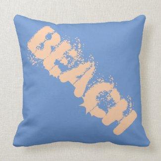 Reversible BEACH Pillow Blue/Peach and Peach/Blue