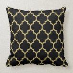 Reversible Black And Gold Tan Quatrefoil Pattern Pillow