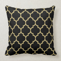 Reversible Black And Gold Tan Quatrefoil Pattern Throw Pillow
