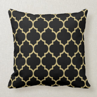 reversible black and gold tan quatrefoil pattern throw pillow