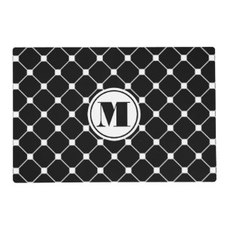 Reversible Black and White Diamond Paper Placemat Laminated Placemat