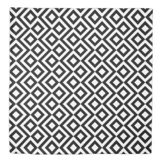 Reversible Black and White Meander/Zigzag Patterns Duvet Cover