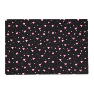 Reversible Black & Pink Diamonds Hearts Pattern Placemat