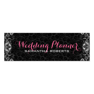 Reversible Black & White Floral Damasks & Lace Double-Sided Mini Business Cards (Pack Of 20)