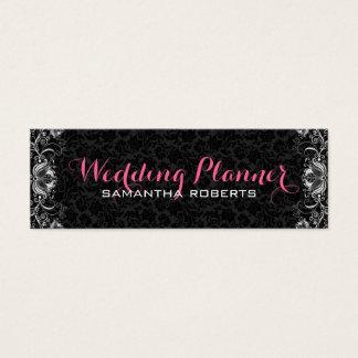 Reversible Black & White Floral Damasks & Lace Mini Business Card