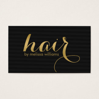 Reversible Black & White & Gold Hair text Design Business Card
