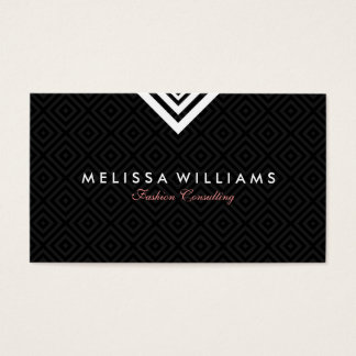 Reversible Black & White Modern Geometric Design Business Card