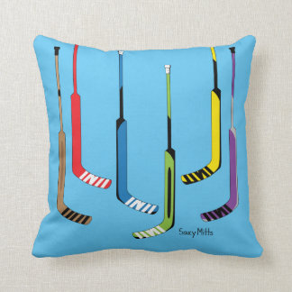 Reversible Blue Colorful Hockey Goalie Sticks Throw Pillow