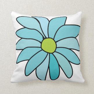 Reversible Blue Daisy Flower Square Pillow