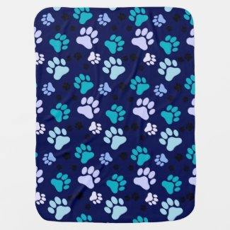 Reversible Blue Paw Print Dog Crate Blanket